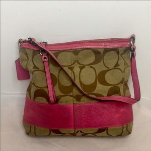 Coach Signature Stripe Shoulder Bag. Khaki/pink